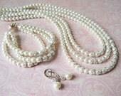 Bridal Jewelry Set Sparkly Wedding Jewelry Pearl Jewelry With Crystals Wedding Jewelry Set Bride Wedding Pearls Elegant Bridal Jewelry Pearl