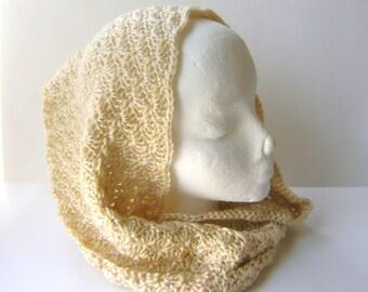 Infinity Scarf in Warm Beige, Crochet Cowl, Loop Scarf in Shell Stitch