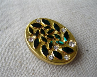 Vintage Gold Oval with Emerald and Crystal Rhinestones. 25x18mm. One piece.
