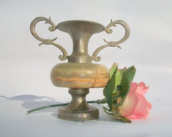 Decorative Silver metal and Marble Petite Vase