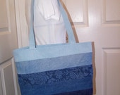 5 Color Ombre Denim Tote, Recycled Jeans Purse, Beach Bag, UpCycled Shoulder Bag
