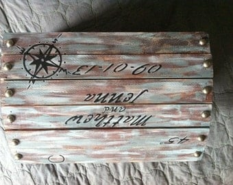 Custom Nautical chest: great for wedding cards, rings, keepsakes, baby dedications, presents, and more