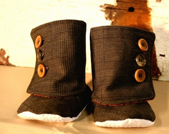 Baby tall boots-recycled wool-3 buttons-orange and brown-repurposed men's coat-size small