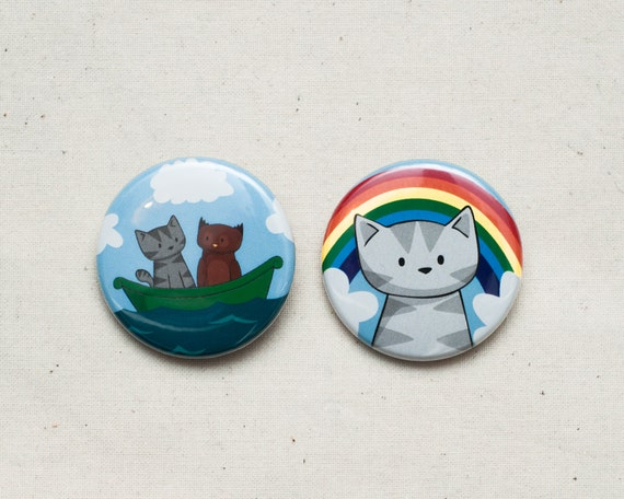 2 Cute Cat Badges