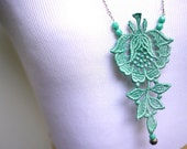 Lace Statement Necklace in Teal Mint Green Beaded Necklace - Customizable Colors