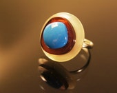 Blue Square Button Ring