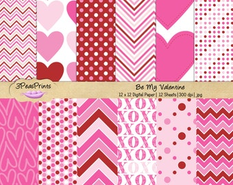 Valentines Digital Paper Pack - Heart Digital Paper Pack - Love Digital Paper for Personal or Commercial Use Instant Download