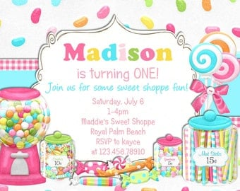 Bright Candy Shoppe Birthday Invitation - Printable Choose Your Color