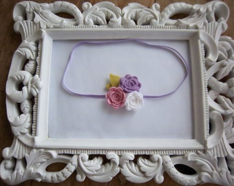 Pink White and Purple Felt Rose Headband Felt Flower Newborn Headband Baby Headband Photo Prop