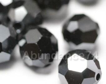 24 pcs Swarovski Elements - Swarovski Crystal Beads 5000 4mm Round Ball Beads - JET HEMATITE