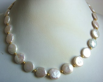 beautiful cultured 14mm white coin pearl necklace 45cm
