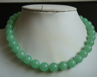 JADE NECKLACE- 12mm light green jade bead necklace Free shipping -US E-packet shipping service 7-15 days delivery