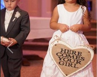 Here Comes Your Girl, heart wedding twine flower girl ring bearer, RUSTIC, hanging 11x14
