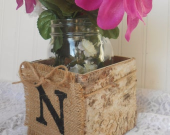 WEDDING FLOWER BASKET, bark covered centerpiece, wedding sign table top, mason jar decor