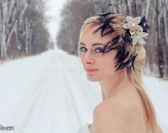 Black and newsprint, feather,bridal hair fascinator, bridesmaid hairpiece, fancy, handmade paper hair accessory