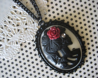 Long Cameo Skeleton with Rose Necklace