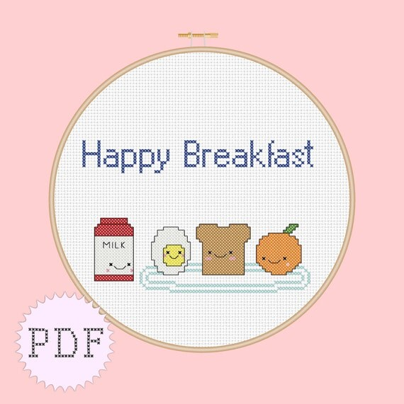 INSTANT DOWNLOAD Counted cross stitch pattern PDF Happy Breakfast