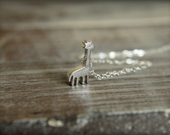 Tiny Giraffe Necklace in Sterling Silver