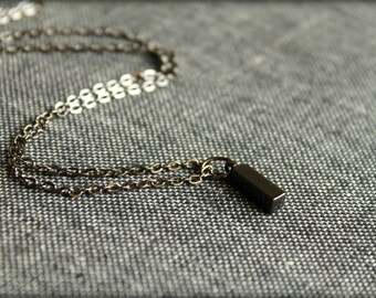 Gunmetal Rectangular Drop Necklace