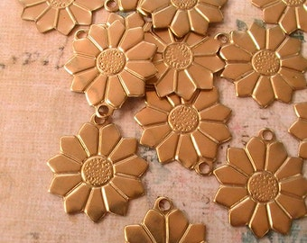 Charm, Flower Charm, Supplies, Findings, Unplated Brass, Raw, Jewelry Supplies, Collage, Assemblage, Mixed Media (12pcs)