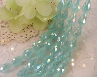 6pcs Tear Drop Beads Faceted Glass Bead Drop 15mmx10mm Teal Pale Blue AB Finish