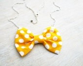 Polka dots bow tie necklace. Fabric bow pendant with silver chain. Yellow Polka dots. Yellow and white.