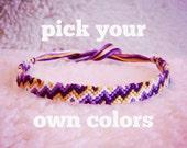 Friendship Bracelet - MADE TO ORDER: Braided Handmade Embroidery Floss Fiber Friendship Bracelet - Super Zig Zag