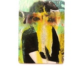 ACEO collage, collage portrait, mixed media art, portraits, small art, original artist trading card, chartreuse, aqua, paper collages