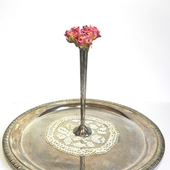 Vintage Trumpet Style Silverplate Vase.. Shabby Patina Vase... Small Silver Vase.... Shabby Silver Vase