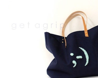 Canvas Tote... NAVY BLUE tote bag with PERSONALIZED leather label