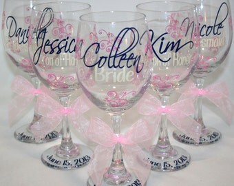 7 Monogrammed Bride and Bridesmaids Wine Glasses