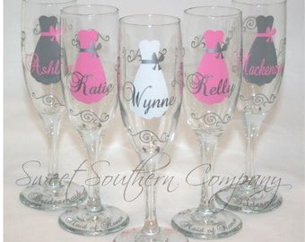 6 Personalized Bride and Bridesmaid Champagne Flutes with Strapless Gown