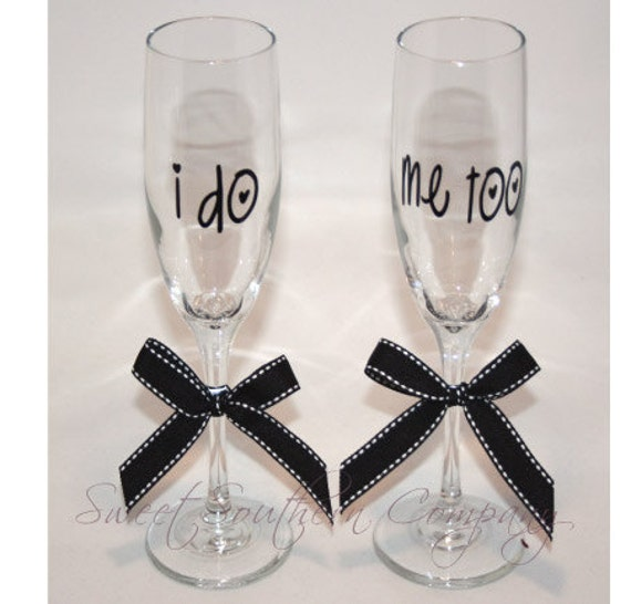 I Do Me Too Bride and Groom Champagne Flutes Personalized