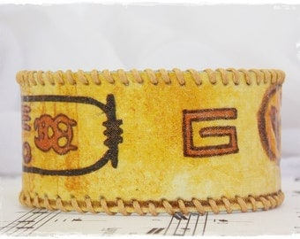 Egyptian Leather Cuff, Leather Cuff Bracelet, Historical Leather Bracelet, Hieroglyphics Leather Jewelry, Leather Cuff Inspired By Egypt