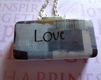 Denim Love Domino Pendant   Repurposed  Domino   Domino Jewelry   Item 945