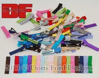 50 Grosgrain Ribbon Partially Covered Single or Double Prong Alligator Clips 1.75 inches
