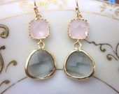 Gold Charcoal Gray Earrings Pink Earrings - Bridesmaid Earrings - Wedding Earrings - Bridesmaid Jewelry Gift - Wedding Jewelry