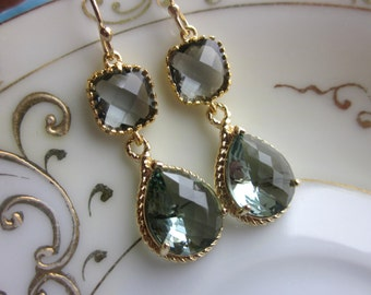 Charcoal Gray Earrings Gold Earrings Teardrop Glass Two Tier - Bridesmaid Earrings Wedding Earrings Wedding Jewelry