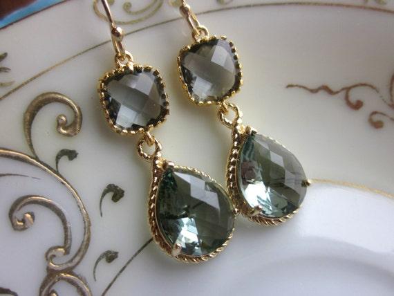 Charcoal Gray Earrings Gold Earrings Teardrop Glass Two Tier - Bridesmaid Earrings Wedding Earrings Wedding Jewelry