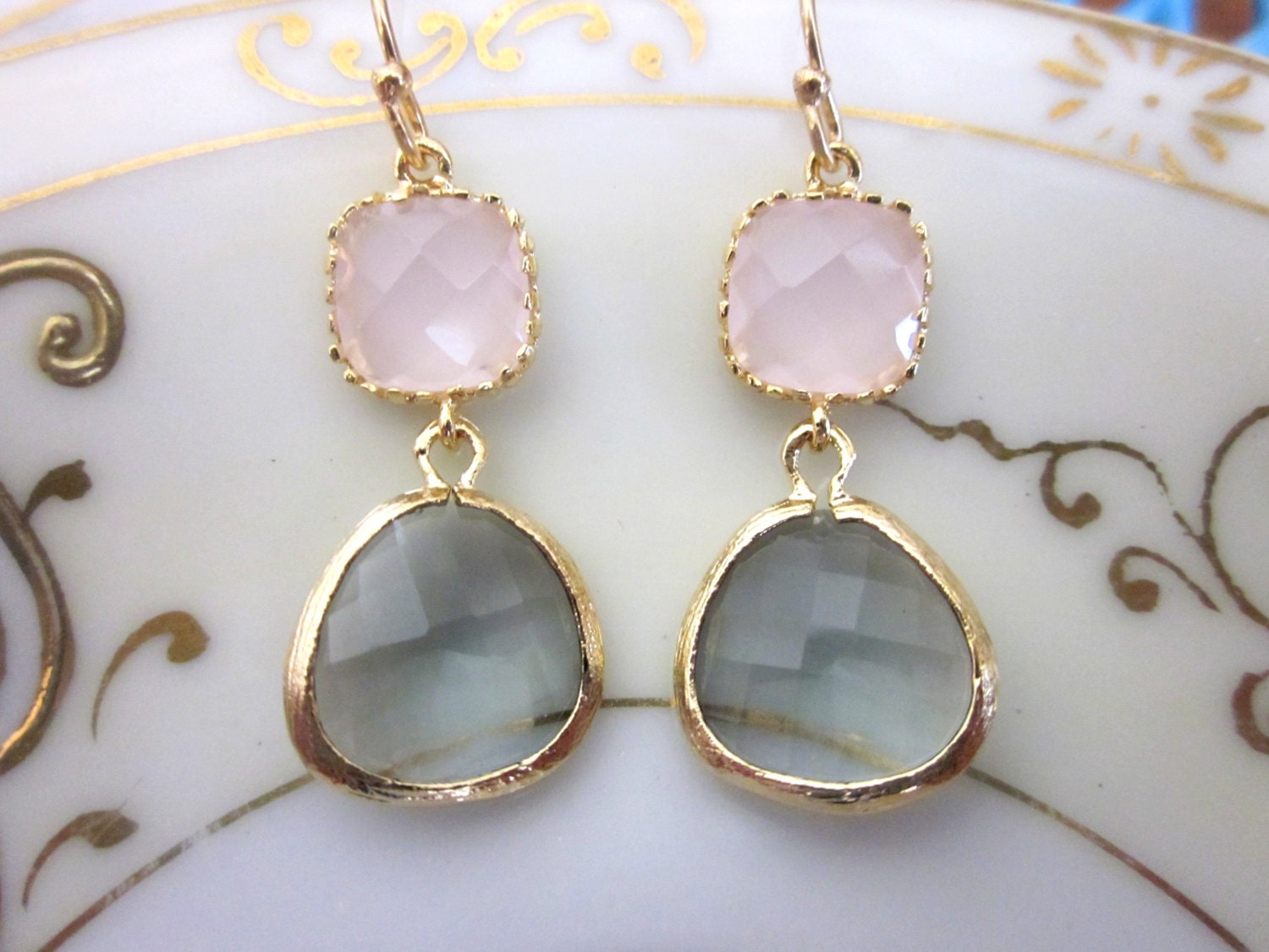 Gold Charcoal Gray Earrings Pink Earrings Bridesmaid