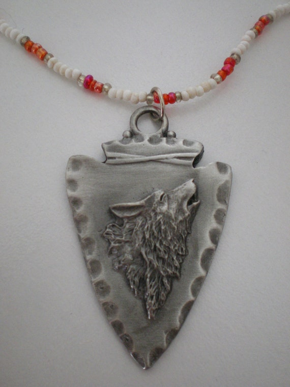 howling wolf pendant and beaded necklace by raewhitewolf