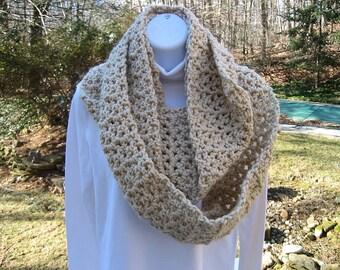 Crochet Infinity Scarf - Linen Color - Neck Warmer - Cowl