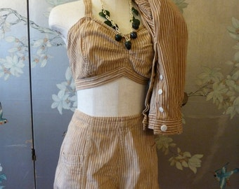 Vintage 1930 - 1940s THREE piece shorts top and CAPRI striped Cotton Romper PLAYSUIT waist 28 to 29