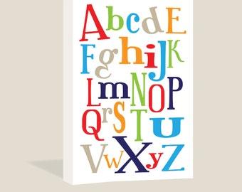 Alphabet Fun Canvas Wrap | ABC | Primary Colors | Children's Wall Art | Boys Room Sign