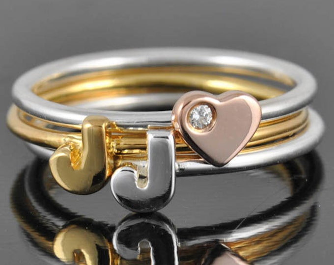 Initial Ring, Personalized Gift, Bridesmaid Gift, Bridal Jewelry, Maid Of Honor, Wedding Gift, Stacking Ring, Best Friend Gift, Heart Ring