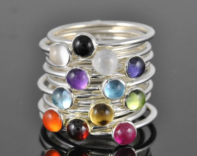 Birthstone ring, gemstone, personalized, bridesmaid, gift, stacking, bridal, jewelry, ring, Birthstone