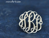 Silver Monogram Pin- Monogram brooch- Hand Sketch& Hand Craft