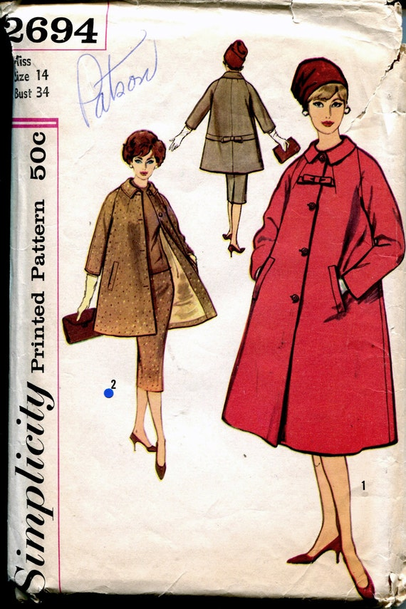 Vintage 1950s Sewing Pattern Misses Swing Coat Wiggle Skirt Size 14 Bust 34 Simplicity 2694