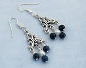 Dumortierite & Pearl Chandelier Earrings - Victorian Style