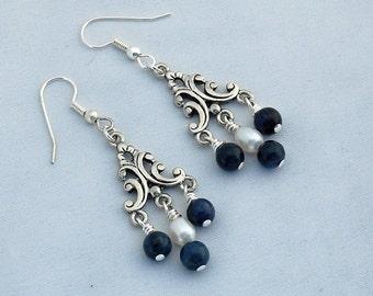 Dumortierite  Pearl Blue Handmade Chandelier Earrings